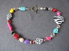 Nice colors howlite zeebra plastic heart pearly beads big clasp collar necklace