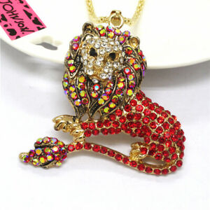 Hot Betsey Johnson Women Shiny Red Color Crystal Animal Lion Sweater Necklace