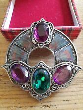 Large Miracle Brooch Pin Purple & Green Stones Scottish