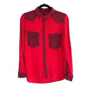 Manaola Men's Button Up Snap Long Sleeve Red Black Size S