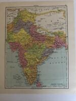 Map 1935: India & Eastern India Original Vintage Print Old Maps 85 Years