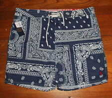 New Polo Ralph Lauren Navy Blue Paisley Logo Swim Trunks Shorts Sz 38