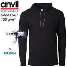 ANVIL Gildan Black Hoodie Basic Lightweight Long Sleeve Hooded T-SHIRT Men