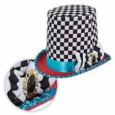 Mad Chequered Hatter Black White Top Hat Alice Tea Party Fairytale Fancy Dress