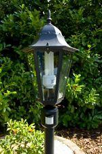 Lampadaire classique Lanterne de jardin Détecteur mouvement Aluminium Noir 10350