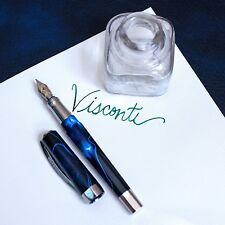 Visconti Opera Vertigo Black & Blue Swirl Pattern Palladium Trim Fountain Pen