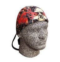 Red Black Tan Catacombs Skull Platinum Durag Doo Rag Cap Biker Durag Sweatband