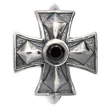 Kreuz mit Stein schwarz Rebeligion Silber für Leder Armband Black Rock Large