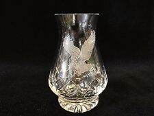 "Edinburgh Crystal Etched Eagle Scottish Cut Glass Bulbous Vase, 4 1/3"" Tall"