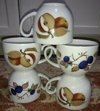 """Royal Worcester Evesham (5) Cups 2.75"""" Tall Fruit Gold (free shipping)"""