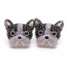 Jeweled Boston Terrier Puppy Dog Cubic Zirconia Black White Stud Earrings