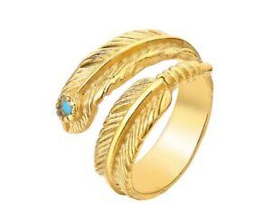 Turquoise Wrap Gold Feather Titanium Stainless Steel Ring Men/ Women Size 7-11