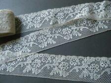 Old Vtg Valenciennes Lace Trim Floral design  Ecru color cotton 1.1/2y Fance