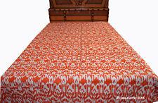 Orange Indian handmade Tapestry Queen size Ikat kantha quilt Bedspread Blanket