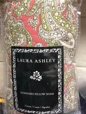 Laura Ashley Vanessa Pillow Sham Quilted Red 100% Cotton Paisley Standard NW