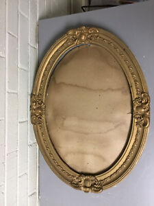 ANTIQUE VTG GOLD GILT BAROQUE BARBOLA OVAL FRAME ORNATE SHABBY CHIC  23 1/2 X 17