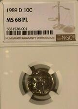 1989 D Roosevelt 10c, NGC Certified MS 68 PL