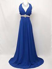 Cherlone Chiffon Blue Long Ballgown Bridesmaid Formal Wedding/Evening Dress 14
