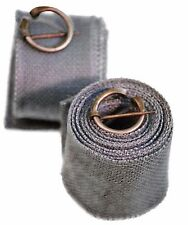 Medieval-Larp-Sca-Viking NEW! GREY HESSIAN BLEND PUTTEES-LEG WRAPS WITH CLASPS