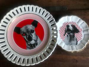 RARE! 'DIESEL' Decorative ceramic Plate set DOG designs - FW2009 Collectable
