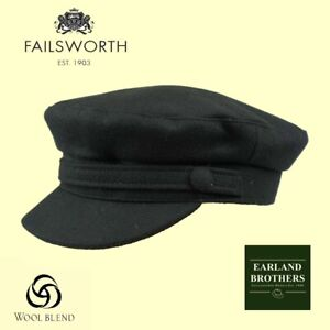 Failsworth Black Wool Breton Mariner Cap Jackie Stewart Captain John Lennon Cap