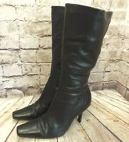 Womens Dorothy Perkins Black Leather Zip Up High Heel Mid Calf Boots UK 6 EUR 39