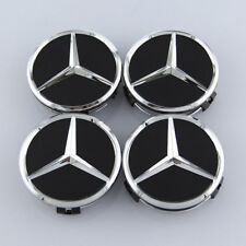 4 PCS 75mm Wheel Center Hub Caps Cover Badge Emblem For Mercedes Benz Black