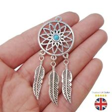 Tibetan Silver Feather Dream Catcher Charms Pendants with Faux Turquoise UK