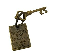 Long Branch 1882 Dodge City Brothel Room Solid Brass Tag & Key W/ Antique Finish