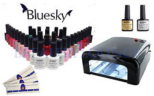 Bluesky Nail Gel Polish Starter Kit Black 36W UV Lamp+3 Colours EXTRA FREE GIFT!