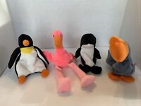 🦩🦈 Lot of 4 Aquatic Ty Beanie Babies Waddle Pinky Waves Scoop NEW Retired