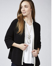 MarlaWynne Ottoman Stitch Jacket with Tipped Detail Black S