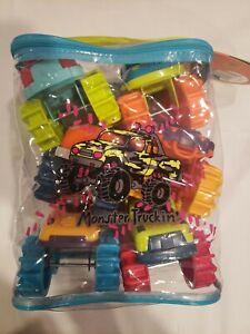New, Battat Mini Monster Trucks, Set of 6 Trucks In Monster Truckin'Storage Bag