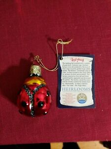 LadyBug Glass Ornament by Inge Glas Germany With Tag