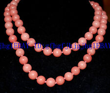 Natural 8mm-10mm Pink Morganit  round bead Gemstone necklace 34icnh-100icnh