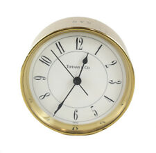 Tiffany & Co Round Brass Desk Clock, Swiss made Quartz movement, monogram SAS