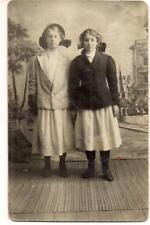 Edwardian Big Hair Bow Hat Girls In Arcade Vintage 1910s Real Photo Postcard