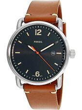 Fossil Herrenuhr Armbanduhr FS5328 silber braun Lederarmband NBQ3302