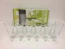 Set of 6 Meridien Luminarc Ribbed 4 oz Wine Glasses Made in France