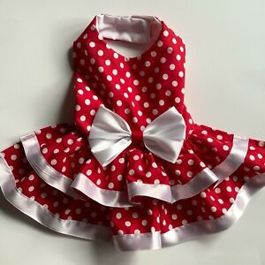 Handmade red with polka dots doggie dress size Small