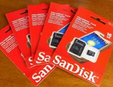 microSDHC Card with Adapter 5 Pack Sandisk 16GB HD Video Memory Card Lot New