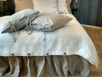 Linen DUVET COVER Buttons Closure King Queen Buttoned FLAX DUVET COVER Softened