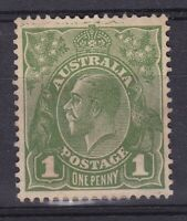 G401) Australia 1931 KGV 1d Green C of A wmk with unusual variety