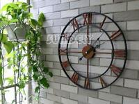 sundely Large red Roman Numeral Wall Clock for Home / Garden / Outdoor (47cm)