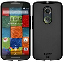 Amzer Exclusive Pudding Matte TPU Case Gel Cover For Moto X 2nd Gen 2014 - Black