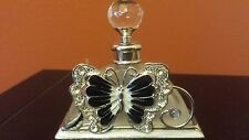 PERFUME BOTTLE BLACK ENAMEL BUTTERFLY FLOWER WITH RHINESTONES AND STOPPER