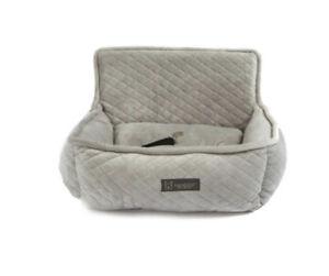 Nandog Pet Gear Luxury Microplush Soft Dog Car Seat Bed LIGHT GREY Small Breed