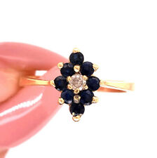 Blue Sapphire and Diamond Right-Hand Ring in 14k Yellow Gold