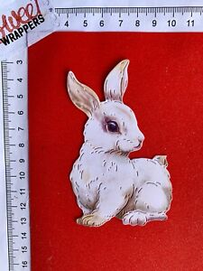 DECOUPAGE CARD Die Cuts x4 Easter Bunny Spring White Rabbit Wildlife Nature