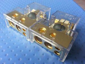 1set 2 4 8 Awg Gauge Gold Car Battery Terminal Positive Negtive 1Pair